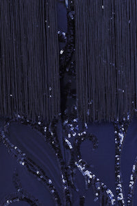 NAZZ COLLECTION PROMISES NAVY LUXE SWEETHEART TASSEL FRINGE SEQUIN BODYCON DRESS