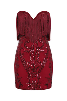NAZZ COLLECTION PROMISES BERRY LUXE SWEETHEART TASSEL FRINGE SEQUIN BODYCON DRESS