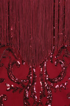 Load image into Gallery viewer, NAZZ COLLECTION PROMISES BERRY LUXE SWEETHEART TASSEL FRINGE SEQUIN BODYCON DRESS