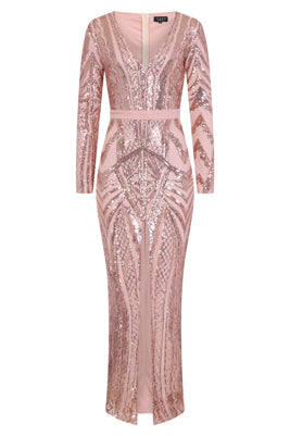 NAZZ COLLECTION ELITE VIP ROSE GOLD NUDE SEQUIN ILLUSION MIDDLE SLIT MAXI DRESS