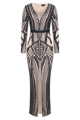 NAZZ COLLECTION ELITE VIP BLACK NUDE SEQUIN ILLUSION MIDDLE SLIT MAXI DRESS
