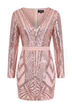 Load image into Gallery viewer, NAZZ COLLECTION COCO COUTURE VIP ROSE GOLD NUDE SEQUIN BODYCON ILLUSION DRESS