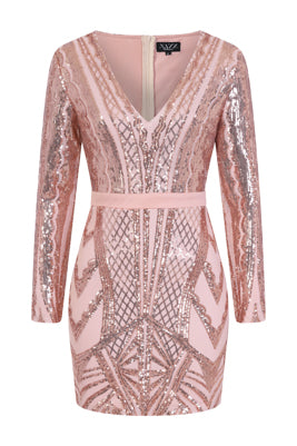 NAZZ COLLECTION COCO COUTURE VIP ROSE GOLD NUDE SEQUIN BODYCON ILLUSION DRESS