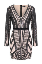 Load image into Gallery viewer, NAZZ COLLECTION COCO COUTURE VIP BLACK NUDE SEQUIN BODYCON ILLUSION DRESS