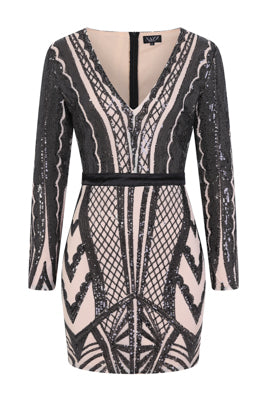 NAZZ COLLECTION COCO COUTURE VIP BLACK NUDE SEQUIN BODYCON ILLUSION DRESS