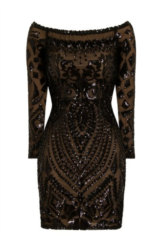 NAZZ COLLECTION ILIANA BLACK LUXE SEQUIN EMBELLISHED OFF THE SHOULDER DRESS