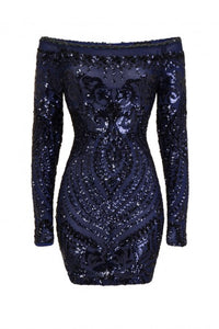 NAZZ COLLECTION ILIANA NAVY LUXE SEQUIN EMBELLISHED OFF THE SHOULDER DRESS