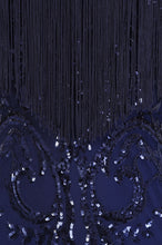 Load image into Gallery viewer, NAZZ COLLECTION RUNWAY NAVY LUXE SWEETHEART TASSEL FRINGE SEQUIN FISHTAIL DRESS
