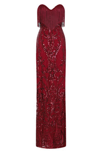 NAZZ COLLECTION RUNWAY BERRY LUXE SWEETHEART TASSEL FRINGE SEQUIN FISHTAIL DRESS