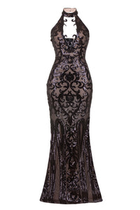 376060c0182f NAZZ COLLECTION MAJESTY LUXE BLACK NUDE KEYHOLE VICTORIAN SEQUIN ILLUSION  MAXI DRESS