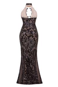 NAZZ COLLECTION MAJESTY LUXE BLACK NUDE KEYHOLE VICTORIAN SEQUIN ILLUSION MAXI DRESS