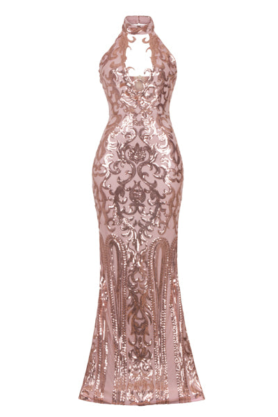 NAZZ COLLECTION MAJESTY ROSE GOLD NUDE KEYHOLE VICTORIAN SEQUIN ILLUSION MAXI DRESS