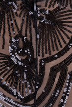 Load image into Gallery viewer, NAZZ COLLECTION VIENNA BLACK LUXE TRIBAL VIP ILLUSION SEQUIN MERMAID MAXI DRESS