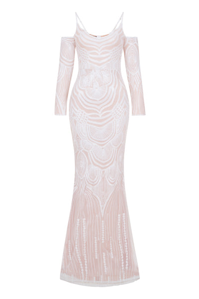 NAZZ COLLECTION VIENNA WHITE NUDE TRIBAL VIP ILLUSION SEQUIN MERMAID MAXI DRESS