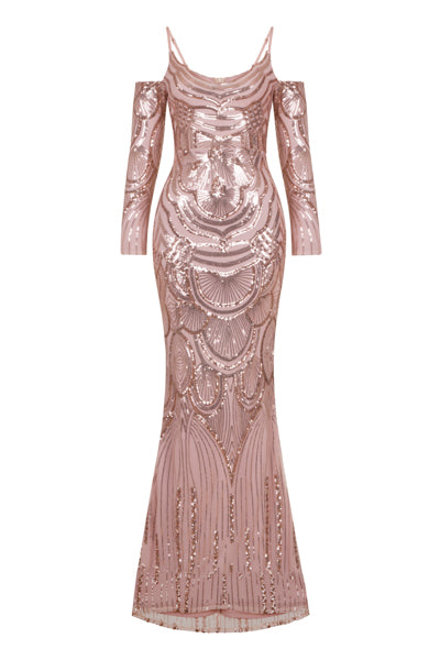 NAZZ COLLECTION VIENNA ROSE GOLD TRIBAL VIP ILLUSION SEQUIN MERMAID MAXI DRESS