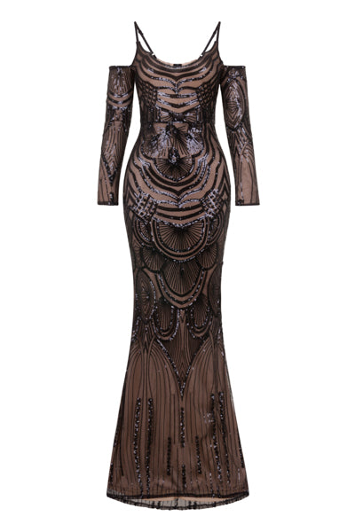 NAZZ COLLECTION VIENNA BLACK LUXE TRIBAL VIP ILLUSION SEQUIN MERMAID MAXI DRESS
