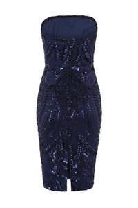 NAZZ COLLECTION CHIC LUXE NAVY BLUE STRAPLESS SEQUIN ILLUSION MIDI PENCIL DRESS