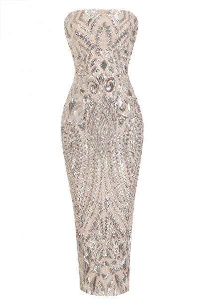 NAZZ COLLECTION CHIC LUXE SILVER NUDE STRAPLESS SEQUIN ILLUSION MIDI PENCIL DRESS