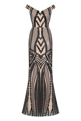 NAZZ COLLECTION LOVE AFFAIR LUXE BLACK NUDE ILLUSION SEQUIN BARDOT MERMAID MAXI DRESS