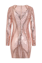 Load image into Gallery viewer, NAZZ COLLECTION HILTON LUXE ROSE GOLD NUDE CAGE SEQUIN BANDAGE ILLUSION DRESS