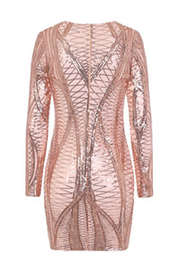 NAZZ COLLECTION HILTON LUXE ROSE GOLD NUDE CAGE SEQUIN BANDAGE ILLUSION DRESS