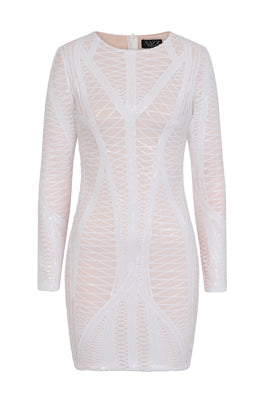NAZZ COLLECTION HILTON LUXE WHITE NUDE CAGE SEQUIN BANDAGE ILLUSION DRESS