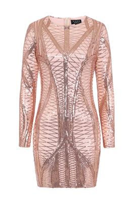 2e508848d5b3 NAZZ COLLECTION HILTON LUXE ROSE GOLD NUDE CAGE SEQUIN BANDAGE ILLUSION  DRESS