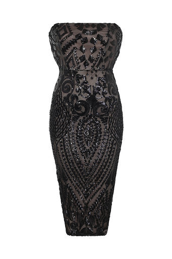 NAZZ COLLECTION CHIC LUXE BLACK NUDE STRAPLESS SEQUIN ILLUSION MIDI PENCIL DRESS