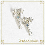 B41AC022 Clockwork Tea Party Ribbon Key Earrings