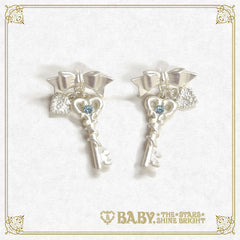 B41AC023 Clockwork Tea Party Ribbon Key Pierced Earrings