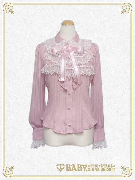 B41BL422 Stripe Chiffon Round Collar Blouse with Jabot