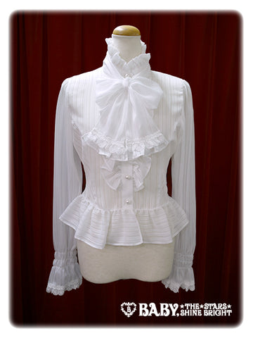 B41BL432 Stripe Chiffon Blouse with Tie
