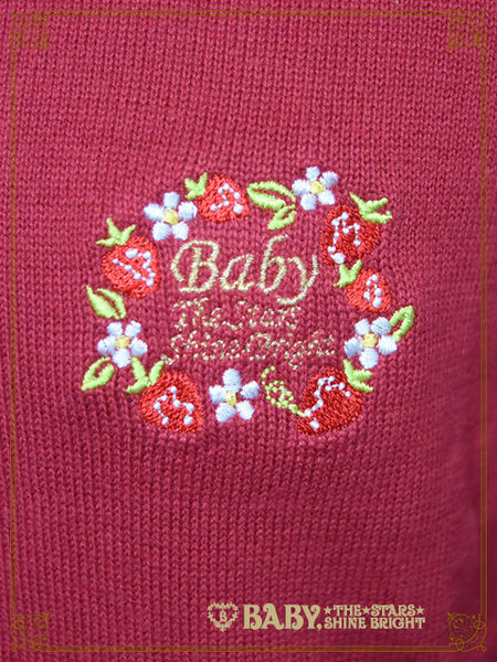B41CD104 Strawberry Embroidery 5 Staged Sleeve Cardigan