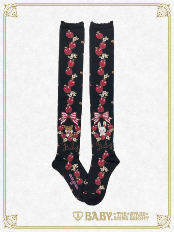 B41SC843 Pomme Rouge~Rabbit and Squirrel Apple Forest~ Over Knee Socks