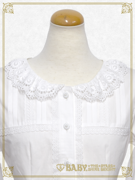 B42BL413 Flower Lace Collar Blouse