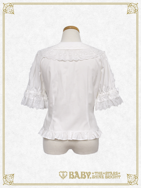 B42BL417 Short Sleeve Round Collar Blouse