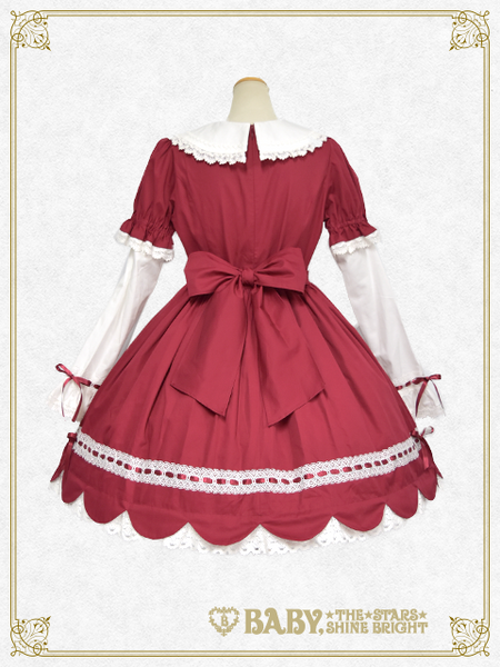 B42OP334 STRAWBERRY Café Scallop One-piece Dress