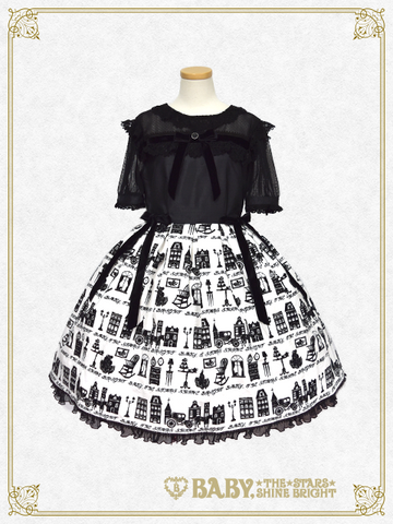 B42OP363 A Little Princess ~Under the Sky of London~ Flock Print One Piece Dress