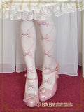B42SC826 Le Bouquet Éternel Ribbon Print Over Knee Socks