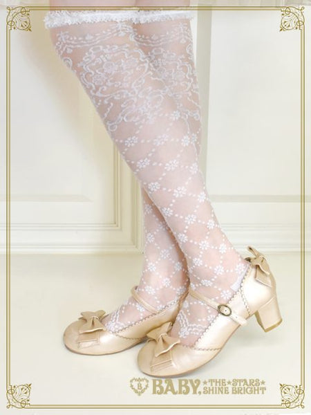 [RESERVATION] B42SC835 Lady Lacy Plumeria ~a Bouquet Wishing for your Happiness~ See-through Over Knee Socks