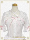 B43BL433 Strawberry and Cherry Lace Back Shirring Blouse