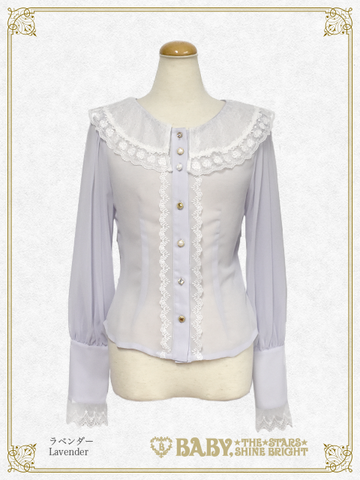 B43BL441 Pearl Bouquet Lace Collar Blouse
