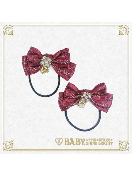 B43HA942 Mini Stripe Ribbon Hair Ties
