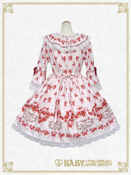 B43OP317 Strawberry Rose Bouquet Onepiece Dress