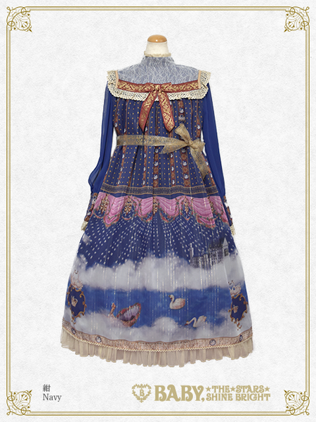 B43OP362 Schwan~Ludwig's Longing and Imaginary Aria~ Onepiece Dress