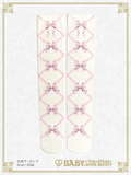 B43SC804 Ribbon Printed Overknee Socks
