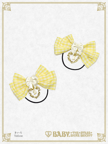 B44HA955 Gingham Ribbon Hair Bands