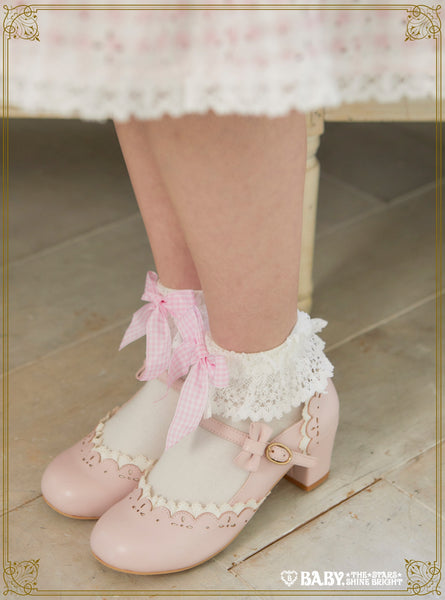 B44SC820 Gingham Ribbon Torchon Lace Ankle Socks