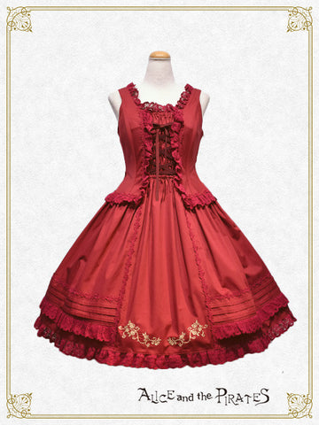 P12JS229 Versailles Rose Embroidery Ribbon Jumper Skirt