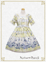 P12OP335 Faint Love In The Water Color Sky And The Melody Of The Rain Onepiece Dress